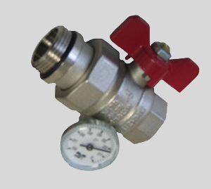 Кран шаровый с американкой и термометром (красный) Tiemme